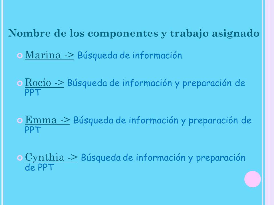 Nombre de los componentes y trabajo asignado Marina -> Búsqueda de información Rocío -> Búsqueda de información y preparación de PPT Emma -> Búsqueda