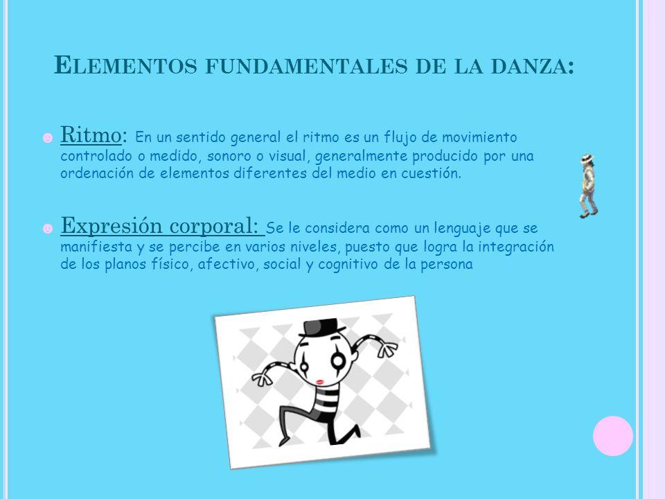 Movimiento: Es el cambio de posición o de lugar en un espacio respecto al danzarín u otro punto de referencia, conjunto de operaciones o circulación que se realiza en los movimientos de una danza.