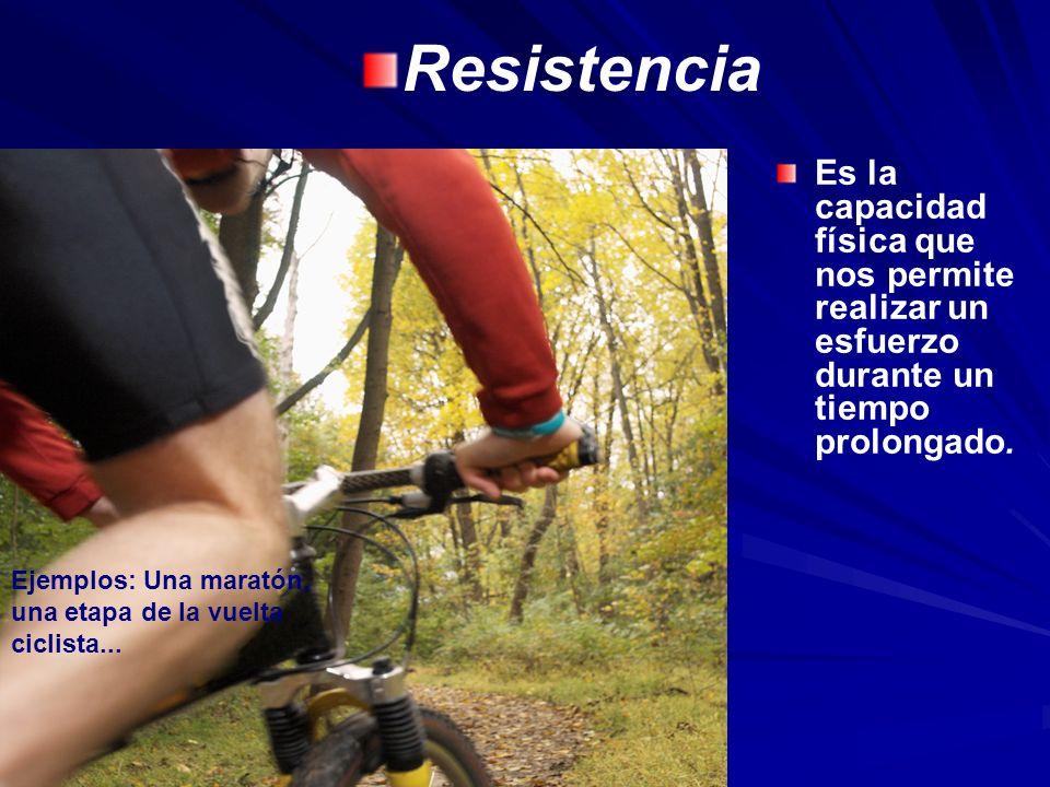Resistencia Ejemplos: Una maratón, una etapa de la vuelta ciclista...