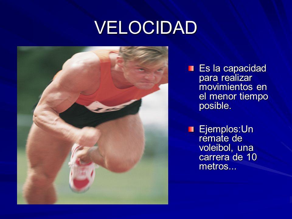 FUERZA Es la capacidad para vencer u oponerse a un peso. Ejemplos: Halterofilia, lanzamiento de peso...