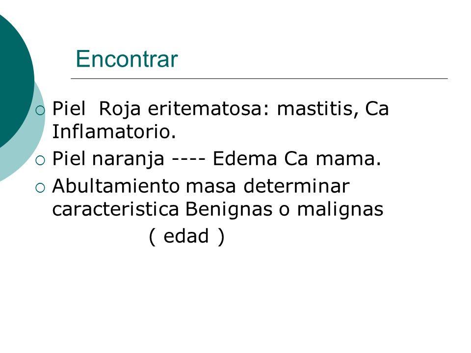 Encontrar Piel Roja eritematosa: mastitis, Ca Inflamatorio. Piel naranja ---- Edema Ca mama. Abultamiento masa determinar caracteristica Benignas o ma