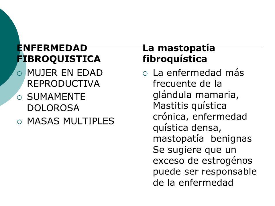 ENFERMEDAD FIBROQUISTICA MUJER EN EDAD REPRODUCTIVA SUMAMENTE DOLOROSA MASAS MULTIPLES La mastopatía fibroquística La enfermedad más frecuente de la g