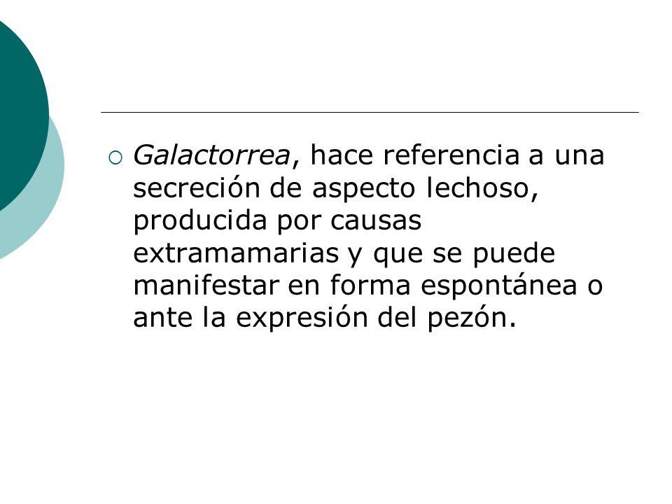 Galactorrea, hace referencia a una secreción de aspecto lechoso, producida por causas extramamarias y que se puede manifestar en forma espontánea o an
