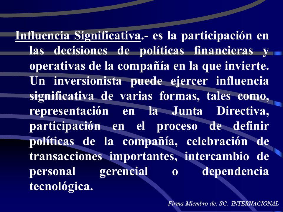 Influencia Significativa.- es la participación en las decisiones de políticas financieras y operativas de la compañía en la que invierte. Un inversion