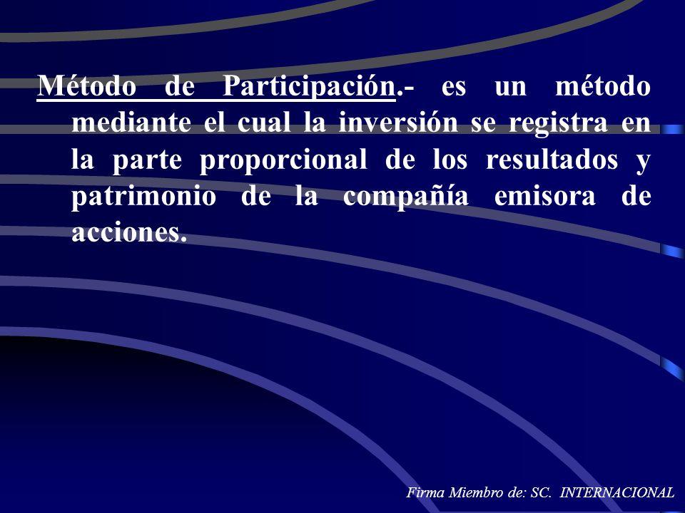 Método de Participación.- es un método mediante el cual la inversión se registra en la parte proporcional de los resultados y patrimonio de la compañí