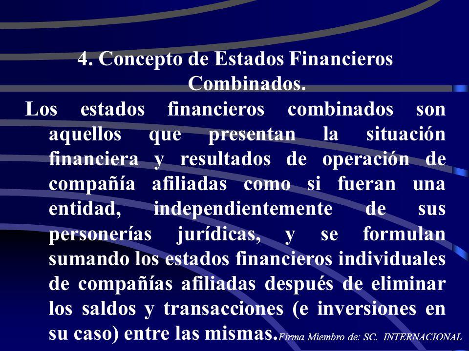 4. Concepto de Estados Financieros Combinados. Los estados financieros combinados son aquellos que presentan la situación financiera y resultados de o