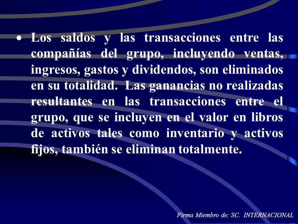 Los saldos y las transacciones entre las compañías del grupo, incluyendo ventas, ingresos, gastos y dividendos, son eliminados en su totalidad. Las ga