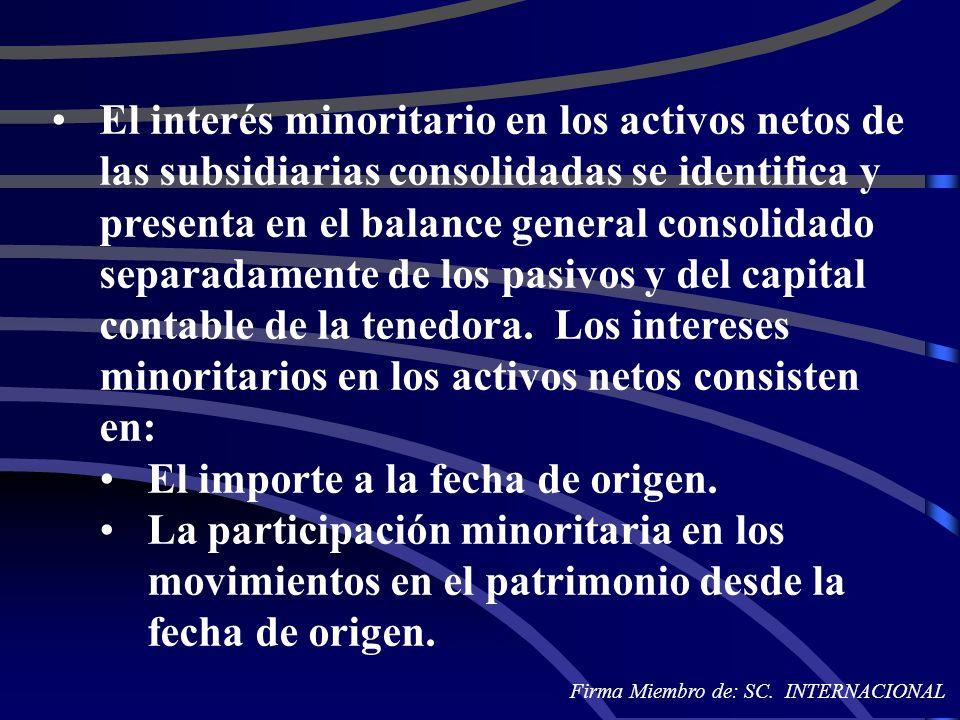 El interés minoritario en los activos netos de las subsidiarias consolidadas se identifica y presenta en el balance general consolidado separadamente