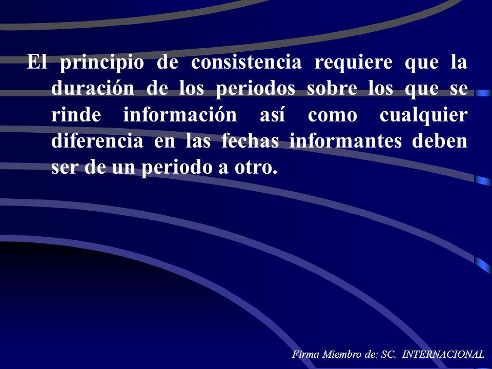 El principio de consistencia requiere que la duración de los periodos sobre los que se rinde información así como cualquier diferencia en las fechas i