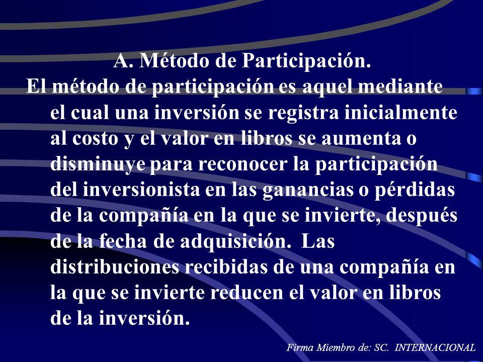 A. Método de Participación. El método de participación es aquel mediante el cual una inversión se registra inicialmente al costo y el valor en libros