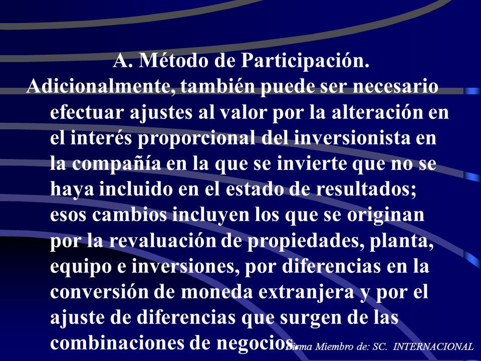 A. Método de Participación. Adicionalmente, también puede ser necesario efectuar ajustes al valor por la alteración en el interés proporcional del inv