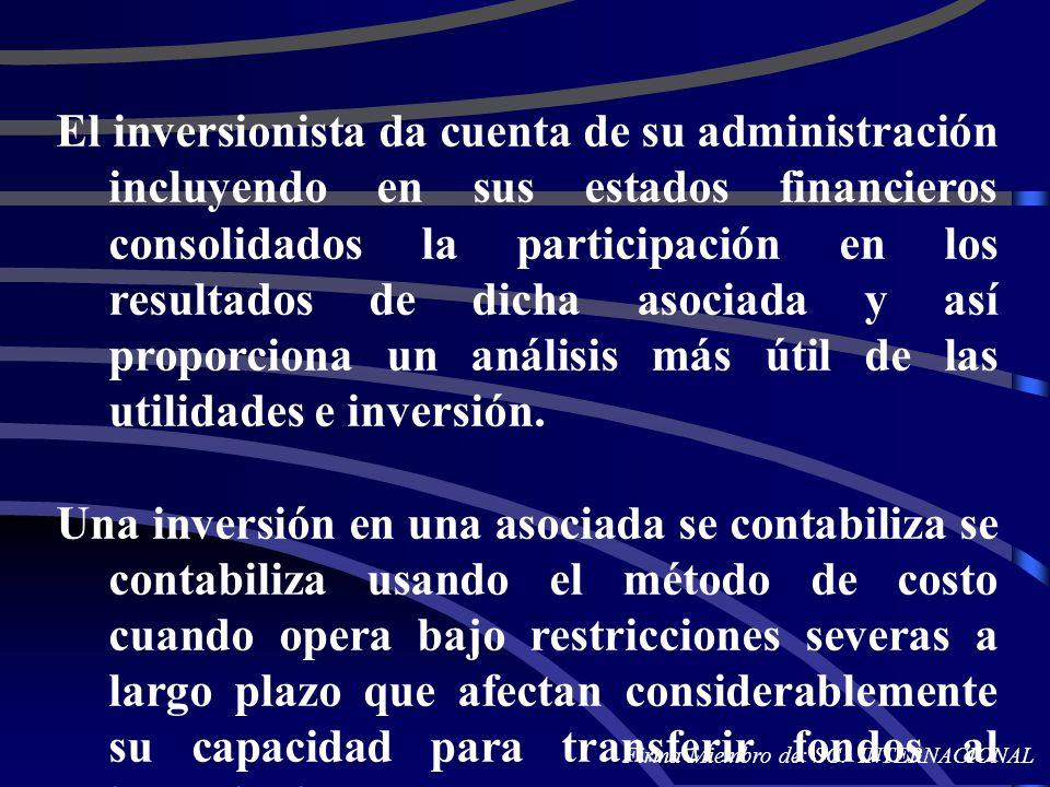 El inversionista da cuenta de su administración incluyendo en sus estados financieros consolidados la participación en los resultados de dicha asociad