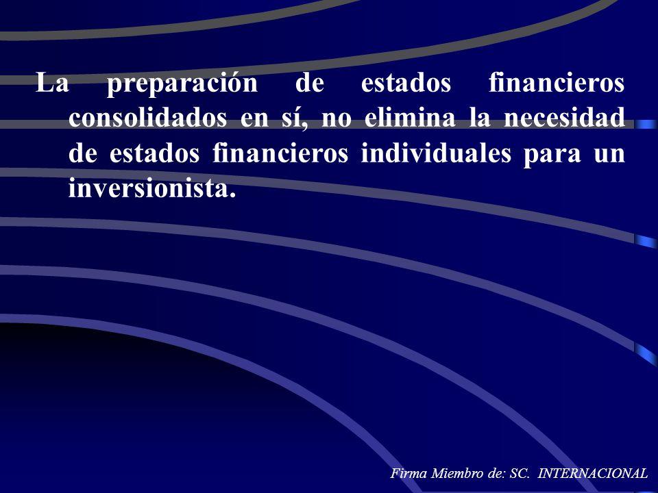 La preparación de estados financieros consolidados en sí, no elimina la necesidad de estados financieros individuales para un inversionista. Firma Mie