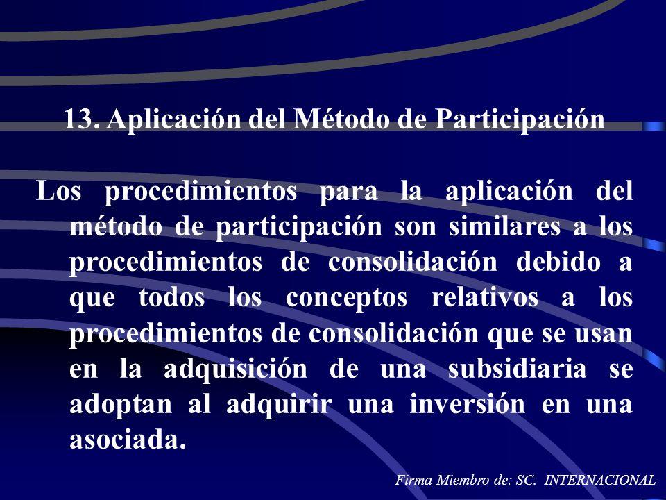 13. Aplicación del Método de Participación Los procedimientos para la aplicación del método de participación son similares a los procedimientos de con
