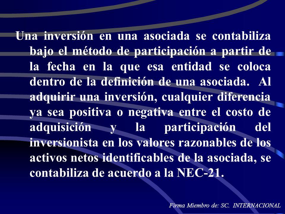 Una inversión en una asociada se contabiliza bajo el método de participación a partir de la fecha en la que esa entidad se coloca dentro de la definic