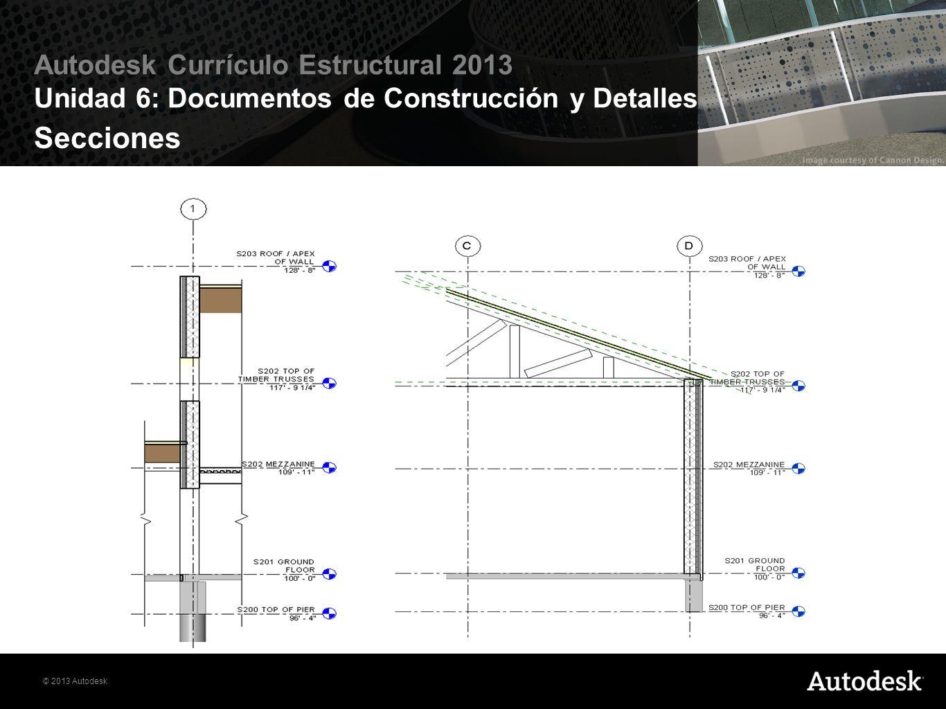 © 2013 Autodesk Autodesk Currículo Estructural 2013 Unidad 6: Documentos de Construcción y Detalles Dimensiones