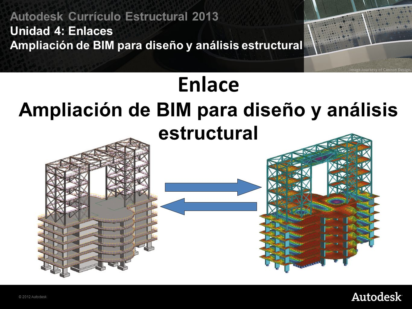 © 2012 Autodesk Autodesk Currículo Estructural 2013 Unidad 4: Enlaces Ampliación de BIM para diseño y análisis estructural Enlace Ampliación de BIM pa