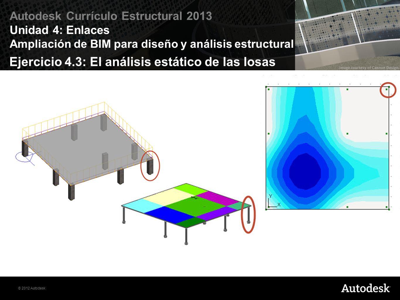 © 2012 Autodesk Autodesk Currículo Estructural 2013 Unidad 4: Enlaces Ampliación de BIM para diseño y análisis estructural Ejercicio 4.3: El análisis