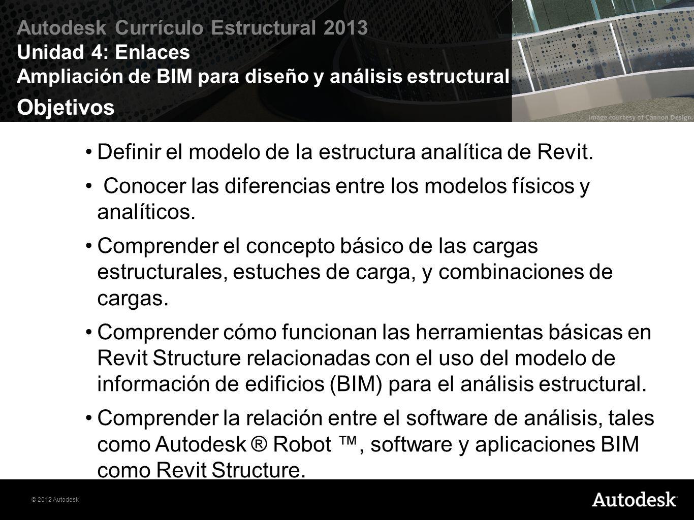 © 2012 Autodesk Autodesk Currículo Estructural 2013 Unidad 4: Enlaces Ampliación de BIM para diseño y análisis estructural Ejercicio Ejercicio 4.1: Diseño de viga mixta Ejercicio 4.2: Cargas en Takedown Ejercicio 4.3: El análisis estático de las losas Ejercicio 4.4: Análisis estático de vigas Ejercicio 4.5: Enlace de Revit a Robot