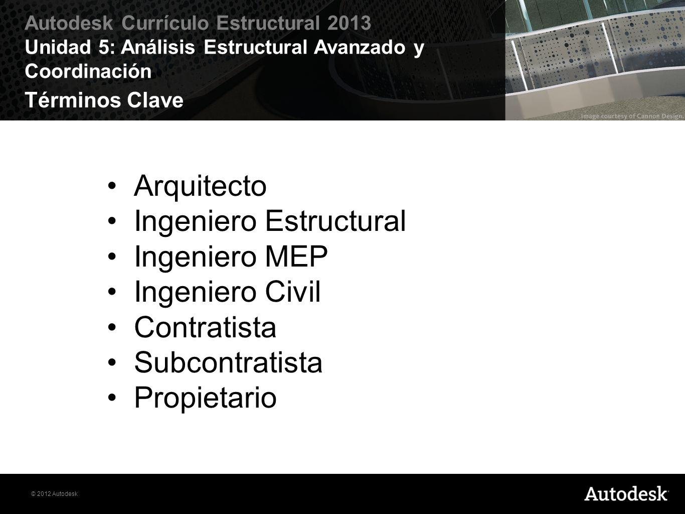 © 2012 Autodesk Autodesk Currículo Estructural 2013 Unidad 5: Análisis Estructural Avanzado y Coordinación Términos Clave Arquitecto Ingeniero Estruct