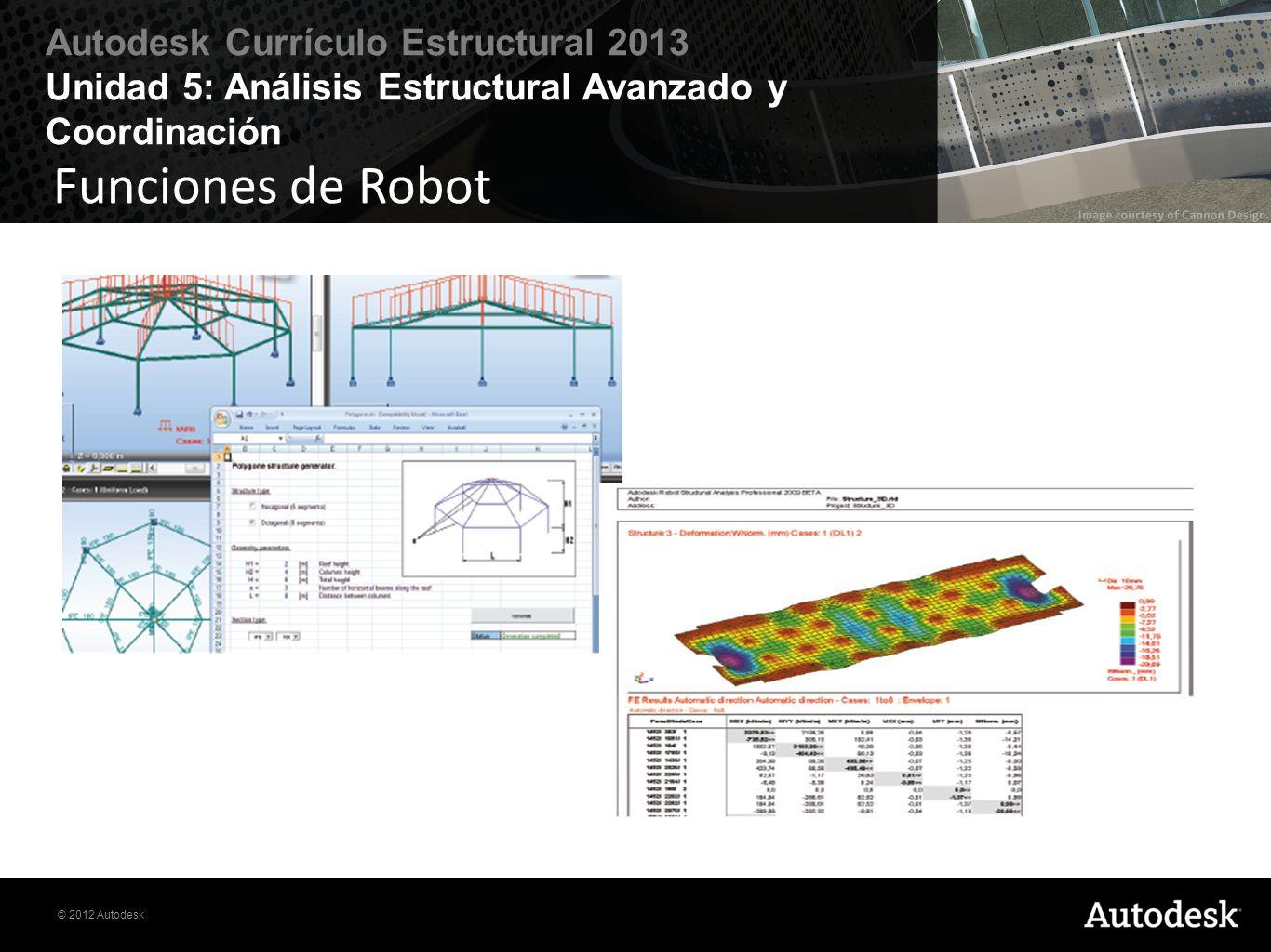 © 2012 Autodesk Autodesk Currículo Estructural 2013 Unidad 5: Análisis Estructural Avanzado y Coordinación Funciones de Robot