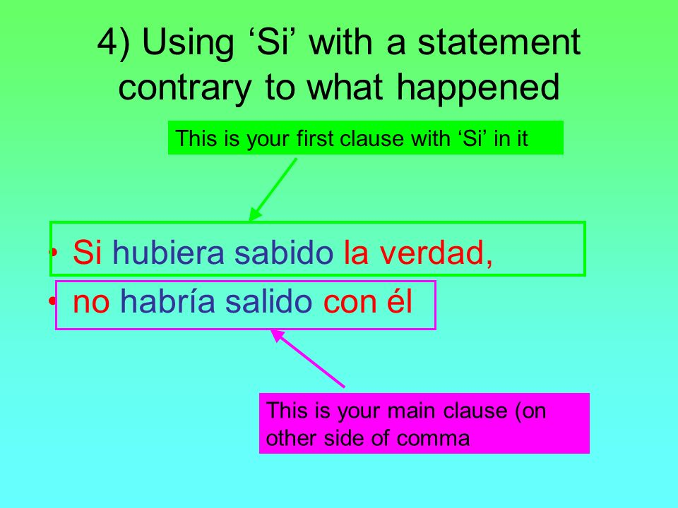 4) Using Si with a statement contrary to what happened Si hubiera sabido la verdad, no habría salido con él This is your first clause with Si in it Th