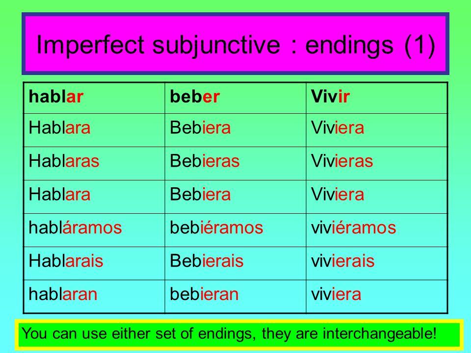 Imperfect subjunctive : endings (1) hablarbeberVivir HablaraBebieraViviera HablarasBebierasVivieras HablaraBebieraViviera habláramosbebiéramosviviéram