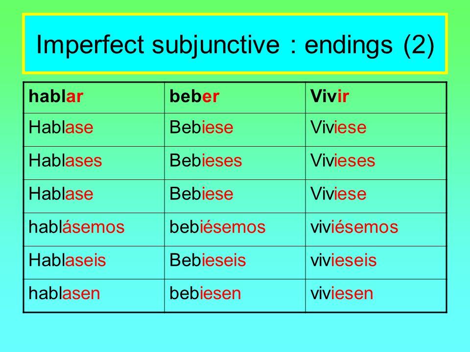 Imperfect subjunctive : endings (2) hablarbeberVivir HablaseBebieseViviese HablasesBebiesesVivieses HablaseBebieseViviese hablásemosbebiésemosviviésem