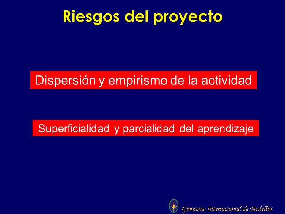 Gimnasio Internacional de Medellín Riesgos del proyecto Dispersión y empirismo de la actividad Superficialidad y parcialidad del aprendizaje