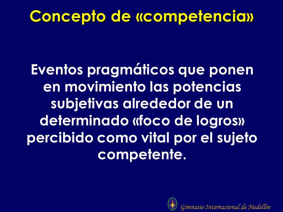Gimnasio Internacional de Medellín Concepto de «competencia» Eventos pragmáticos que ponen en movimiento las potencias subjetivas alrededor de un dete