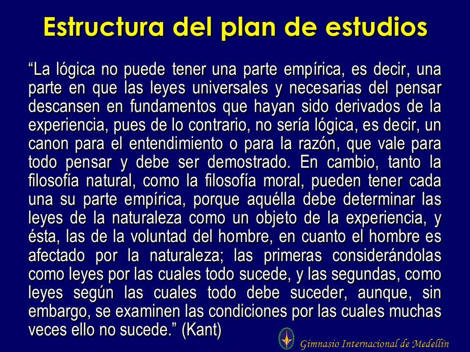 Gimnasio Internacional de Medellín Estructura del plan de estudios La lógica no puede tener una parte empírica, es decir, una parte en que las leyes u