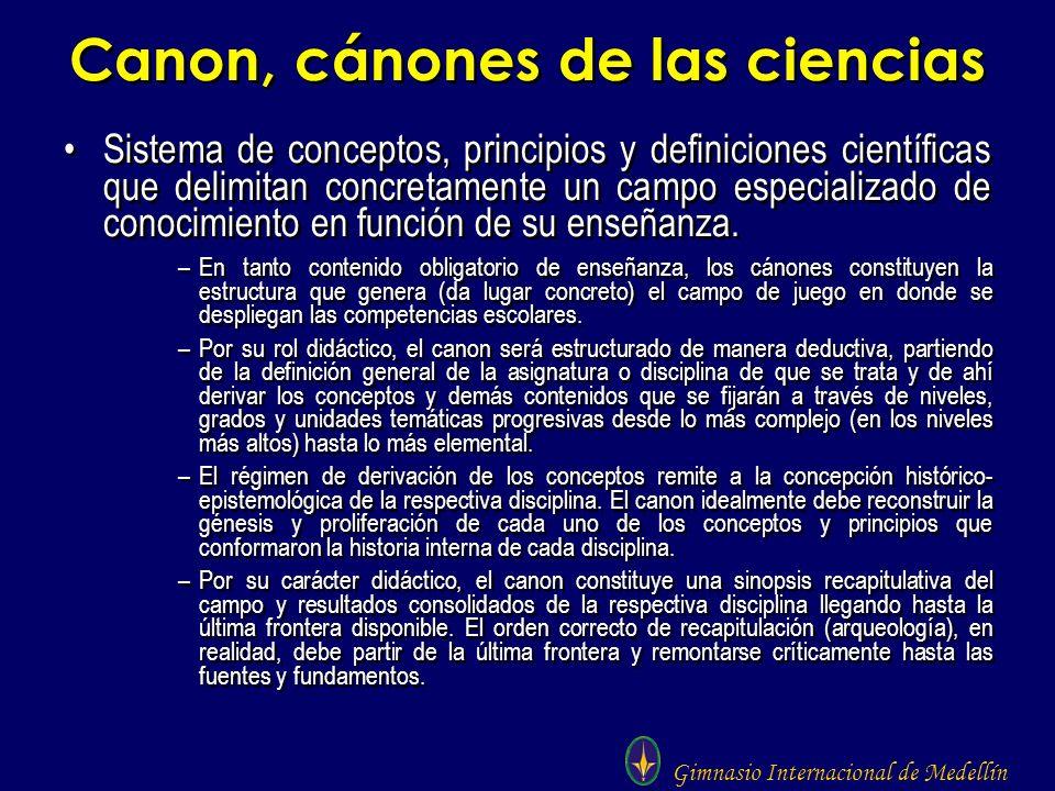 Gimnasio Internacional de Medellín Canon, cánones de las ciencias Sistema de conceptos, principios y definiciones científicas que delimitan concretame