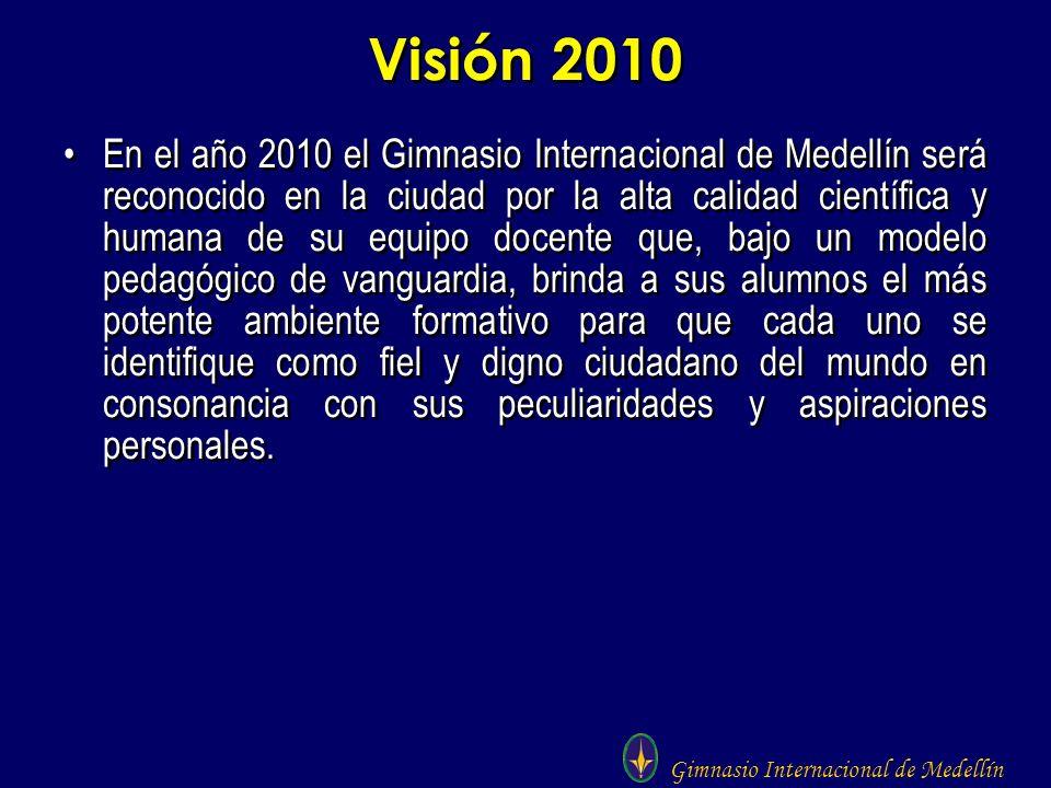 Gimnasio Internacional de Medellín Visión 2010 En el año 2010 el Gimnasio Internacional de Medellín será reconocido en la ciudad por la alta calidad c