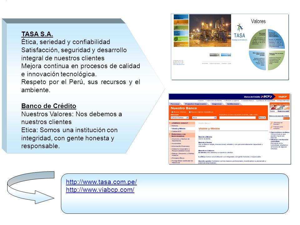 http://www.tasa.com.pe/ http://www.viabcp.com/ TASA S.A. Ética, seriedad y confiabilidad Satisfacción, seguridad y desarrollo integral de nuestros cli