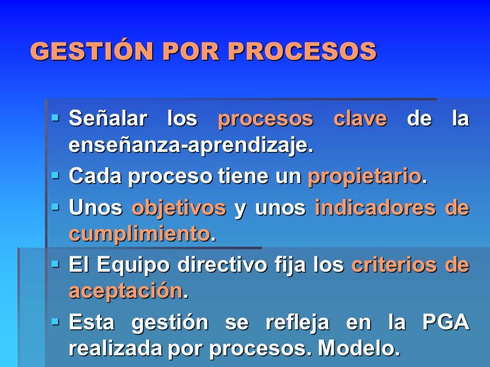 Gestión por procesos Controlar cada proceso de los que tenemos en el Mapa de procesos.