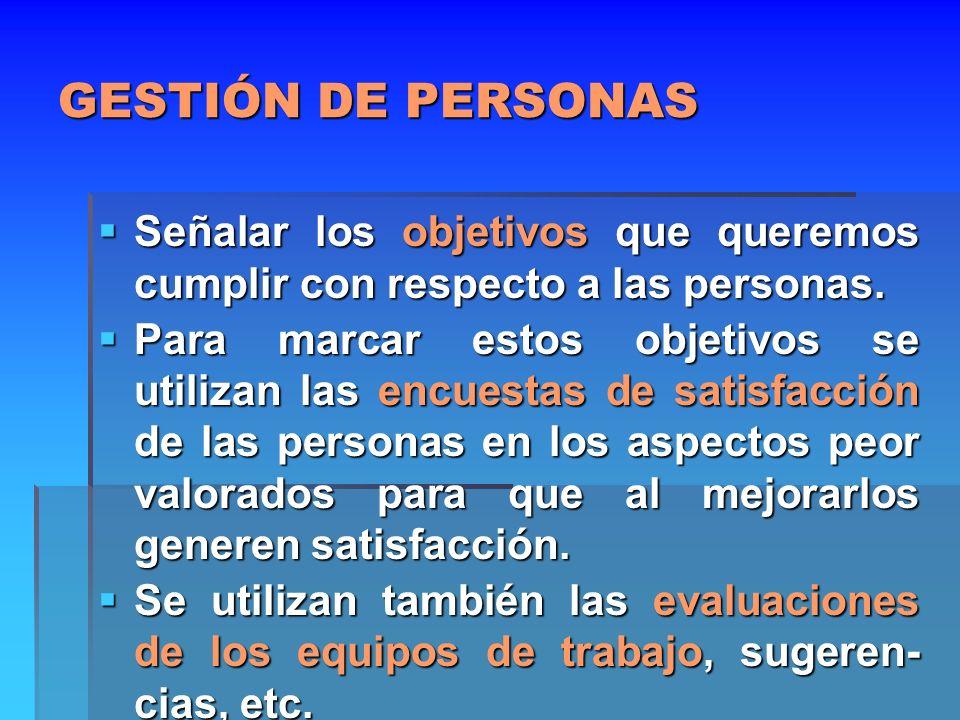 GESTIÓN DE PERSONAS Señalar los objetivos que queremos cumplir con respecto a las personas. Señalar los objetivos que queremos cumplir con respecto a