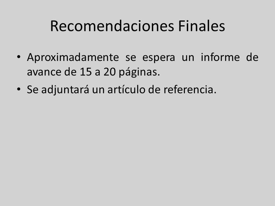 Recomendaciones Finales Aproximadamente se espera un informe de avance de 15 a 20 páginas. Se adjuntará un artículo de referencia.
