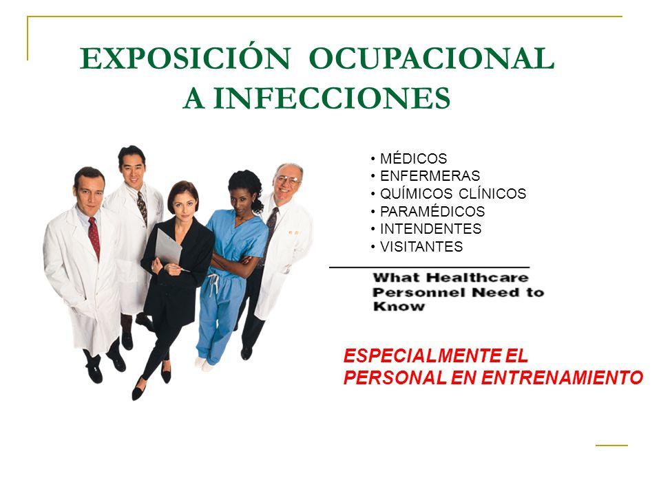EXPOSICIÓN OCUPACIONAL A INFECCIONES VIH Tuberculosis Hepatitis virales B y C Varicela Influenza, influenza aviar Infección por meningococo Diarreas infecciosas Conjuntivitis