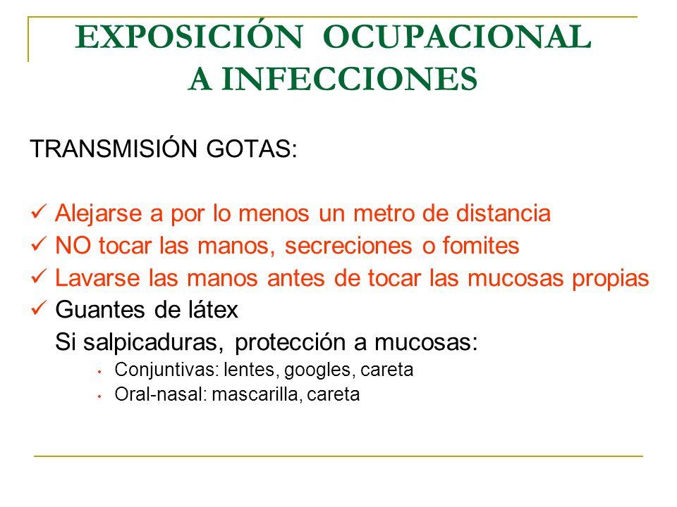 EXPOSICIÓN OCUPACIONAL A INFECCIONES TRANSMISIÓN GOTAS: Alejarse a por lo menos un metro de distancia NO tocar las manos, secreciones o fomites Lavars
