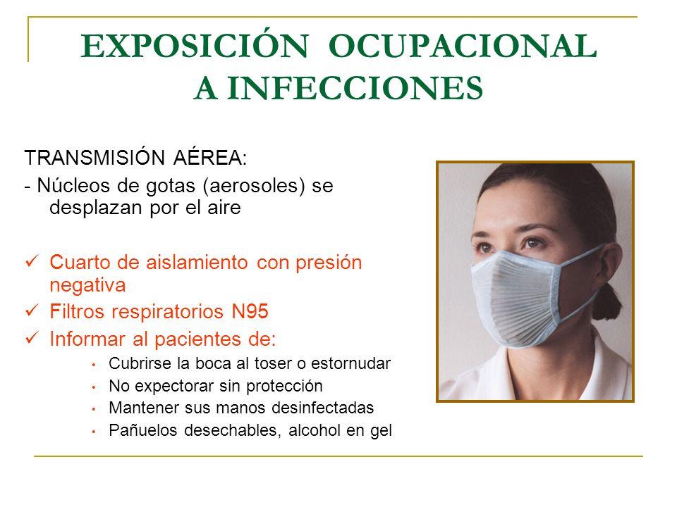 EXPOSICIÓN OCUPACIONAL A INFECCIONES TRANSMISIÓN AÉREA: - Núcleos de gotas (aerosoles) se desplazan por el aire Cuarto de aislamiento con presión nega