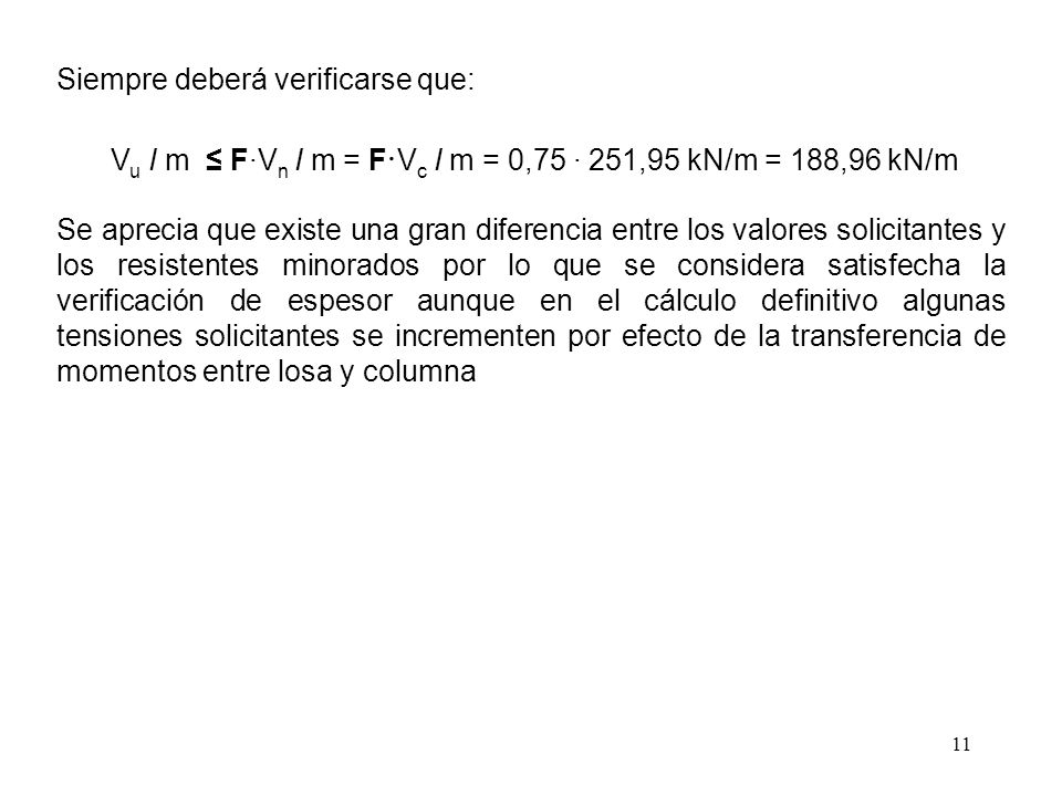 11 Siempre deberá verificarse que: V u I m F·V n I m = F · V c I m = 0,75 · 251,95 kN/m = 188,96 kN/m Se aprecia que existe una gran diferencia entre