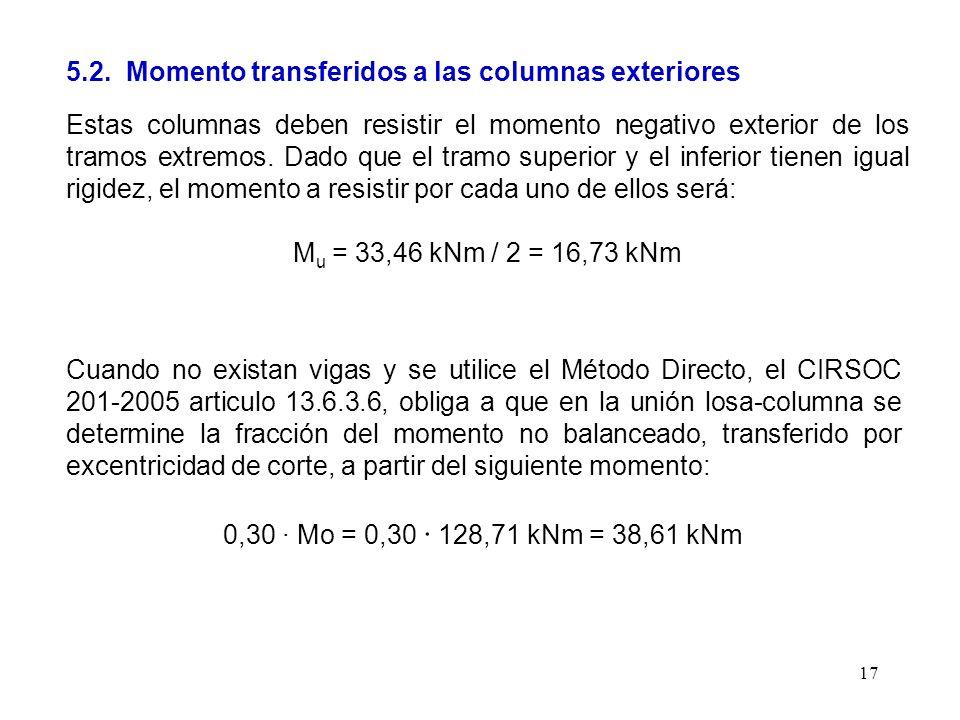 17 5.2. Momento transferidos a las columnas exteriores Estas columnas deben resistir el momento negativo exterior de los tramos extremos. Dado que el
