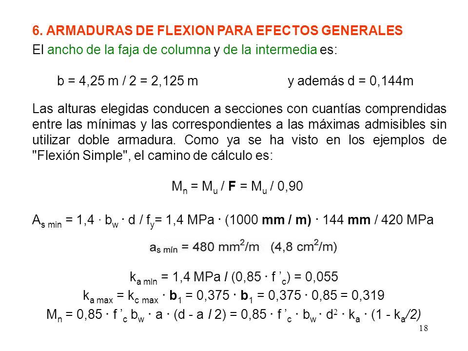 18 6. ARMADURAS DE FLEXION PARA EFECTOS GENERALES El ancho de la faja de columna y de la intermedia es: b = 4,25 m / 2 = 2,125 m y además d = 0,144m L