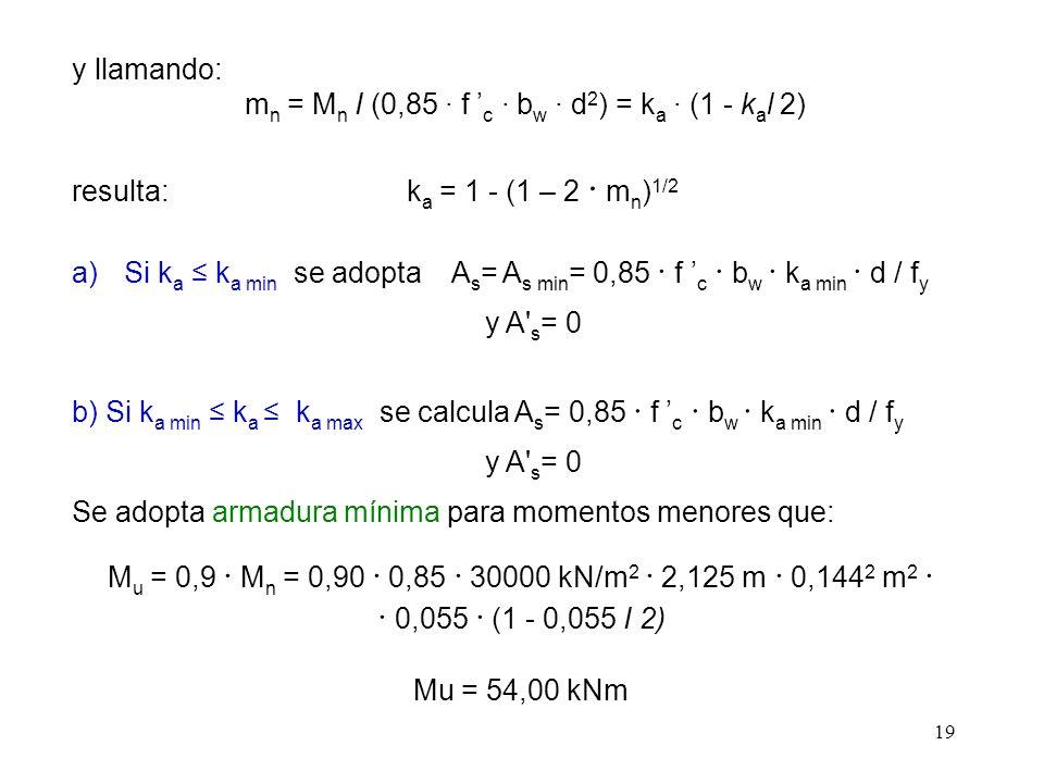 19 y llamando: m n = M n I (0,85 · f c · b w · d 2 ) = k a · (1 - k a l 2) resulta: k a = 1 - (1 – 2 · m n ) 1/2 a)Si k a k a min se adopta A s = A s