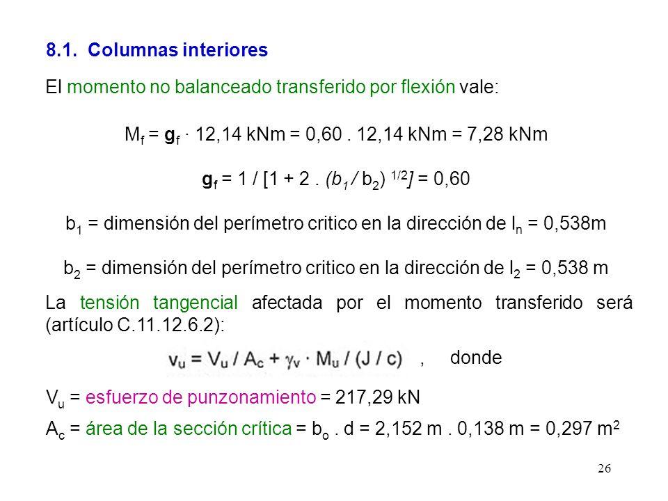 26 8.1. Columnas interiores El momento no balanceado transferido por flexión vale: M f = g f · 12,14 kNm = 0,60. 12,14 kNm = 7,28 kNm g f = 1 / [1 + 2
