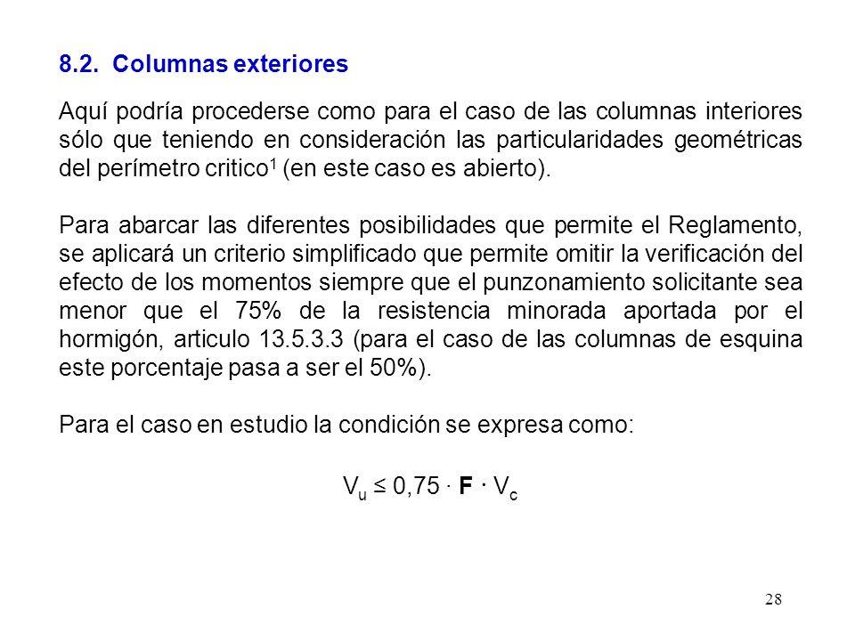 28 8.2. Columnas exteriores Aquí podría procederse como para el caso de las columnas interiores sólo que teniendo en consideración las particularidade