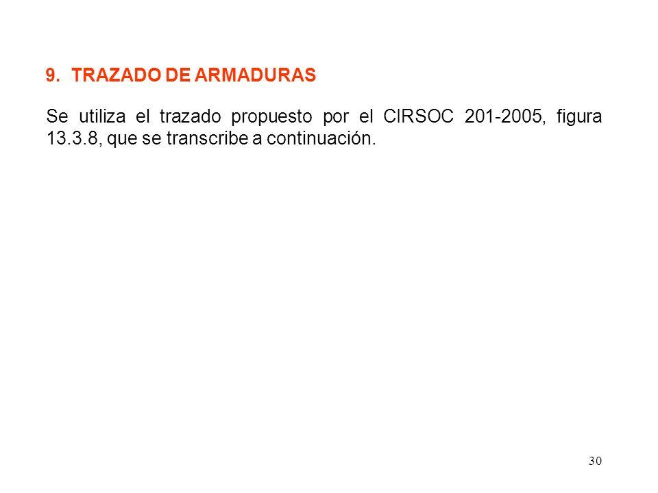 30 9. TRAZADO DE ARMADURAS Se utiliza el trazado propuesto por el CIRSOC 201-2005, figura 13.3.8, que se transcribe a continuación.