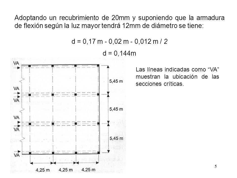 6 En forma aproximada la solicitación por metro puede considerarse como: Por su parte la resistencia al corte por metro de ancho puede calcularse como (artículo 11.3.1.1): v c = f c 1/2 · d / 6 = 30 1/2 MPa · 0,144m · (1000kN / MN) / 6 = 131,45 kN/m Por lo tanto se verifica: v u = 22,62 kN/m < F · v n = F · v c = 0,75 · 131,45 kN/m = 98,59 kN/m