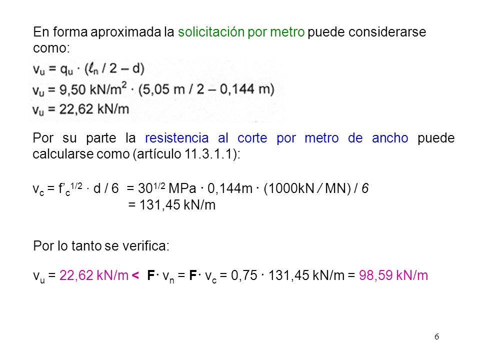 6 En forma aproximada la solicitación por metro puede considerarse como: Por su parte la resistencia al corte por metro de ancho puede calcularse como