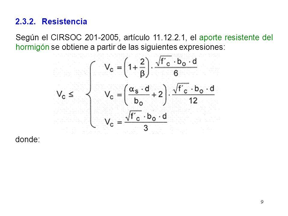 9 2.3.2. Resistencia Según el CIRSOC 201-2005, artículo 11.12.2.1, el aporte resistente del hormigón se obtiene a partir de las siguientes expresiones